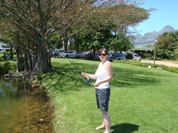 Monique Roden - trying her luck fishing in the Cape Winelands